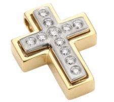 11 Brillanten Kreuz-Anhänger Weiß/SI zus. ca. 0,25ct Platin 950/Gold 750