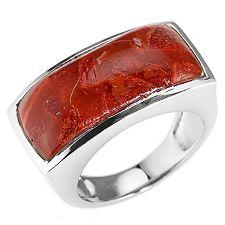 Schaumkoralle 22x10mm Ring Silber 925