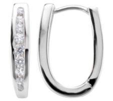 DIAMONIQUE ® Creolen = 0,24ct Brillantschliff Silber rhodiniert