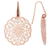 BRONZO ITALIA  Ohrhänger floral poliert Bronze/rosévergoldet