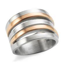 SMYKE Schmuckdesign Ring Wickeloptik Edelstahl, bicolor