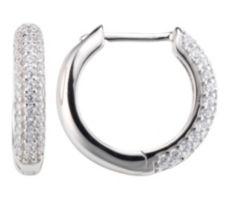 DIAMONIQUE ® Creolen = 0,74ct Brillantschliff Silber rhodiniert