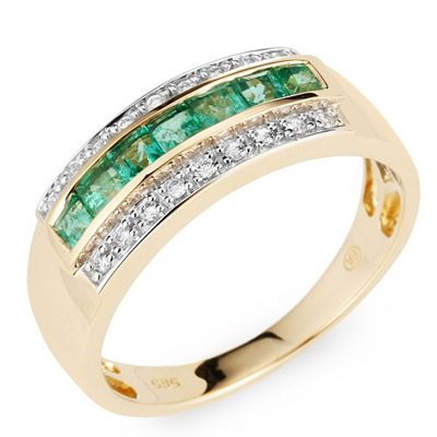 Sambia Smaragd Rivieréring mindestens 0,56ct Brillanten 0,11ct Gold 585 Preisvergleich
