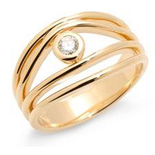 Ring 1 Brillant ca. 0,13ct get.Weiß/Lupenrein Gold 585