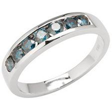 Ring 7 Brillanten zus. ca. 0,56ct beh. blau Weißgold 585