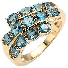 Itinga Topas Londonblue 2,40ct Ovalschliff Croisé-Ring Gold 375