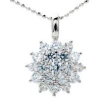 DIAMONIQUE ® Anhänger m.Kette = 0,92ct Brillantschliff Silber rhodiniert