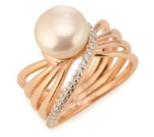 HONORA  Ring Süßwasserzucht- perle 9,5-10mm Silber, rosévergoldet
