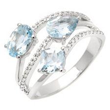 Premium Aquamarin 1,75ct Ring Brillanten 0,09ct Weißgold 585