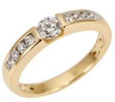 CANADIAN DIAMONDS  Ring 9 Brillanten zus. ca. 0,51ct Gold 750