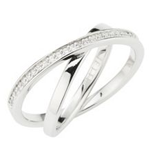 JETTE Designerschmuck Ring 27 Zirkonia Silber rhodiniert