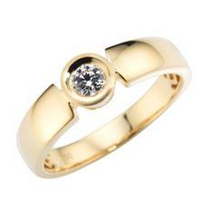 Ring 1 Brillant ca. 0,15ct hfW/lupenrein Gold 750