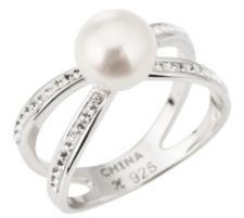 HONORA  Ring Süßwasserzucht- perle 7,5-8mm Silber rhodiniert