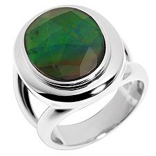 Ammolith Bergkristall Tripl. Ring 16x12mm Silber 925
