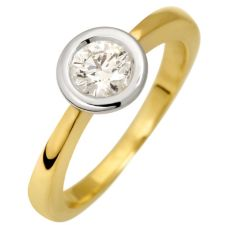 1 Brillant ca.0,50ct hf.Weiß/lupenrein Solitär-Ring Gold 750