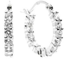 DIAMONIQUE ® Creolen = 2,40ct Brillantschliff Silber rhodiniert