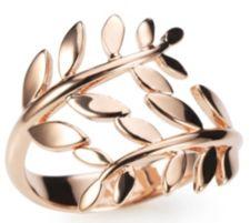 BRONZO ITALIA  Croisé-Ring Blätteroptik poliert Bronze/roséverg.