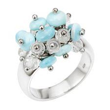 Larimar Ring Bergkristall Nuggets Silber 925