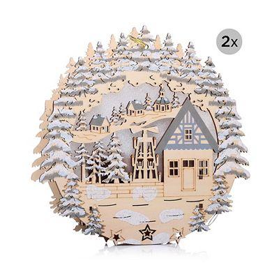 LUMIDA Xmas 2 Holzfensterbilder Diamantfolie Farbwechel Timer, Ø je ca. 20cm Preisvergleich
