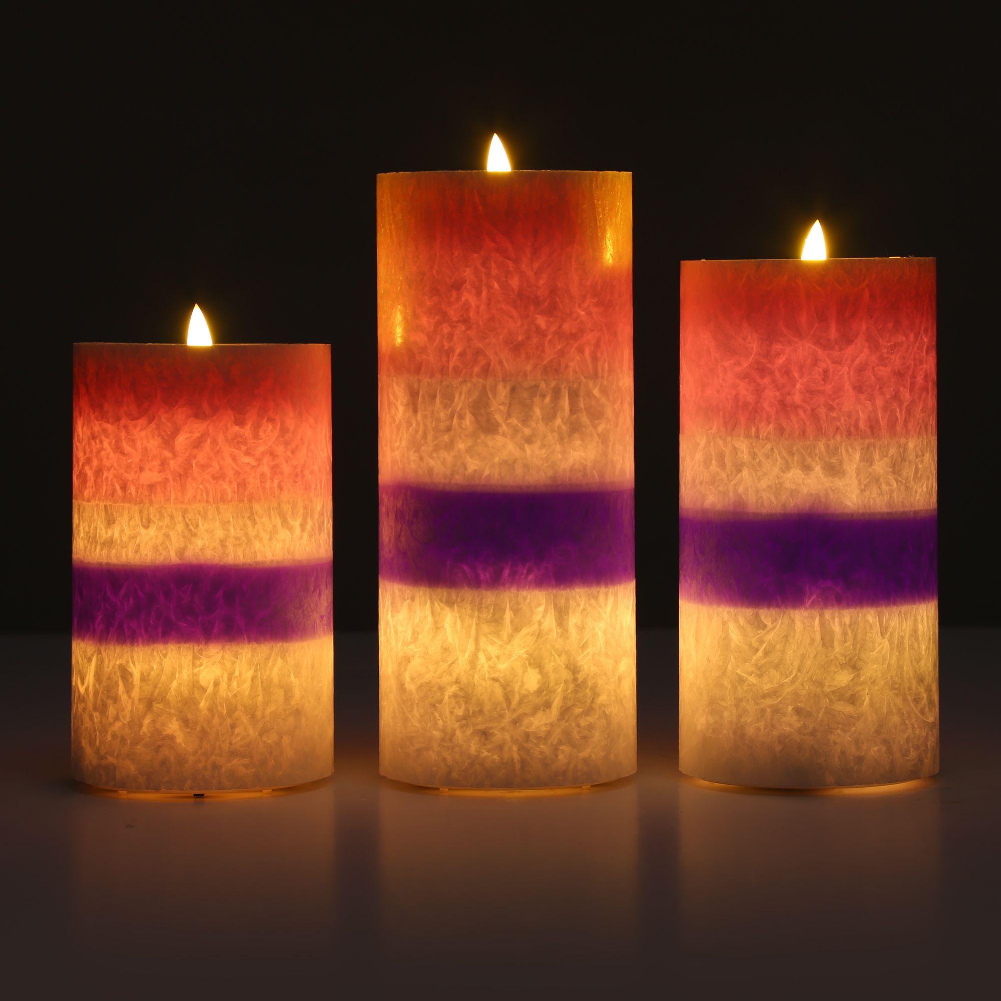 Luma Haus: ELAMBIA 3 Flammenlose Kerzen Macaron-Trendfarben Flamme