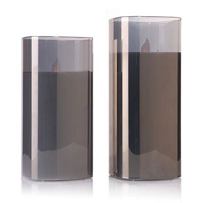 ELAMBIA 2 Glaskerzen Pendelflamme 5h-Timerfunktion Höhe 17 & 20cm Preisvergleich