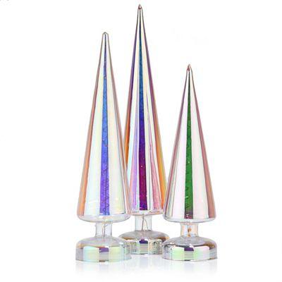 LUMIDA Xmas 3 Glas-Tannenbäume mit 2 Lichteffekten irisierend Höhe 31, 37 & 41cm Preisvergleich