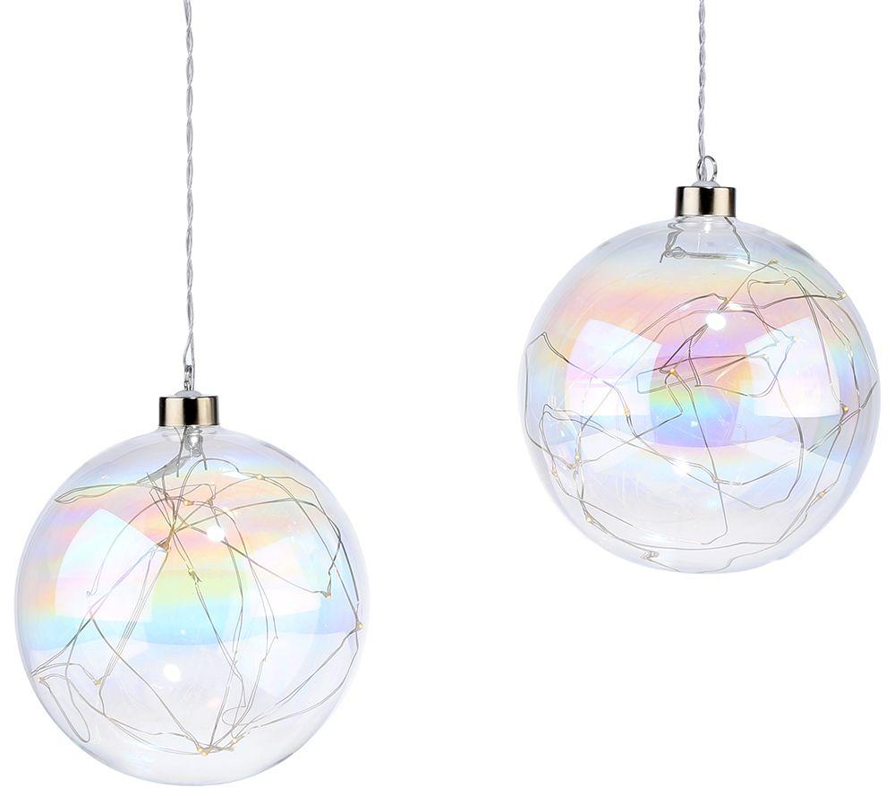 Lumida Xmas 2 Glaskugeln Lüsterglasur Timerfunktion ø Ca 15cm