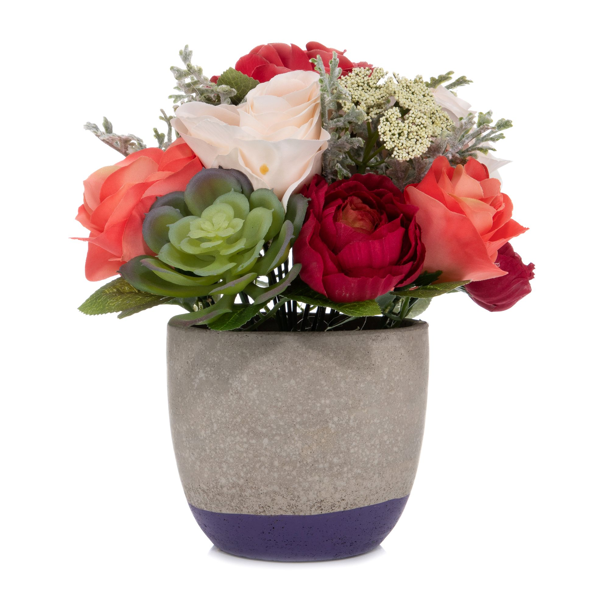 Abella Flora Kunstblumen Im Zementtopf Multicolor Höhe Ca 26cm Qvcde