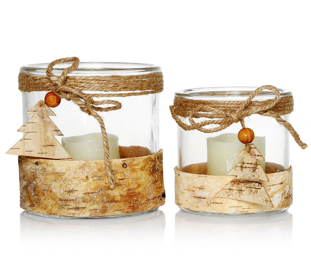 Elambia Flammenlose Kerzen Inkl Windlicht Holz Dekoration 4tlg