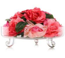 ABELLA  Flora kunstvolle Blumen Tischgesteck mit Rosen Glas-Schale