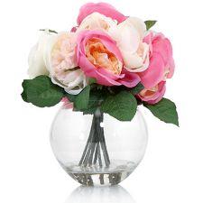 ABELLA  Flora kunstvolle Blumen Rosen-Arrangement Vase H. ca. 26cm