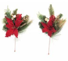 ABELLA  Flora kunstvolle Blumen Deko-Sticks mit Weihnachtsstern 2er Set