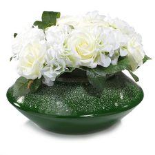 ABELLA  Flora kunstvolle Blumen Rosen-Arrangement Keramik-Gefäß H. ca. 27cm