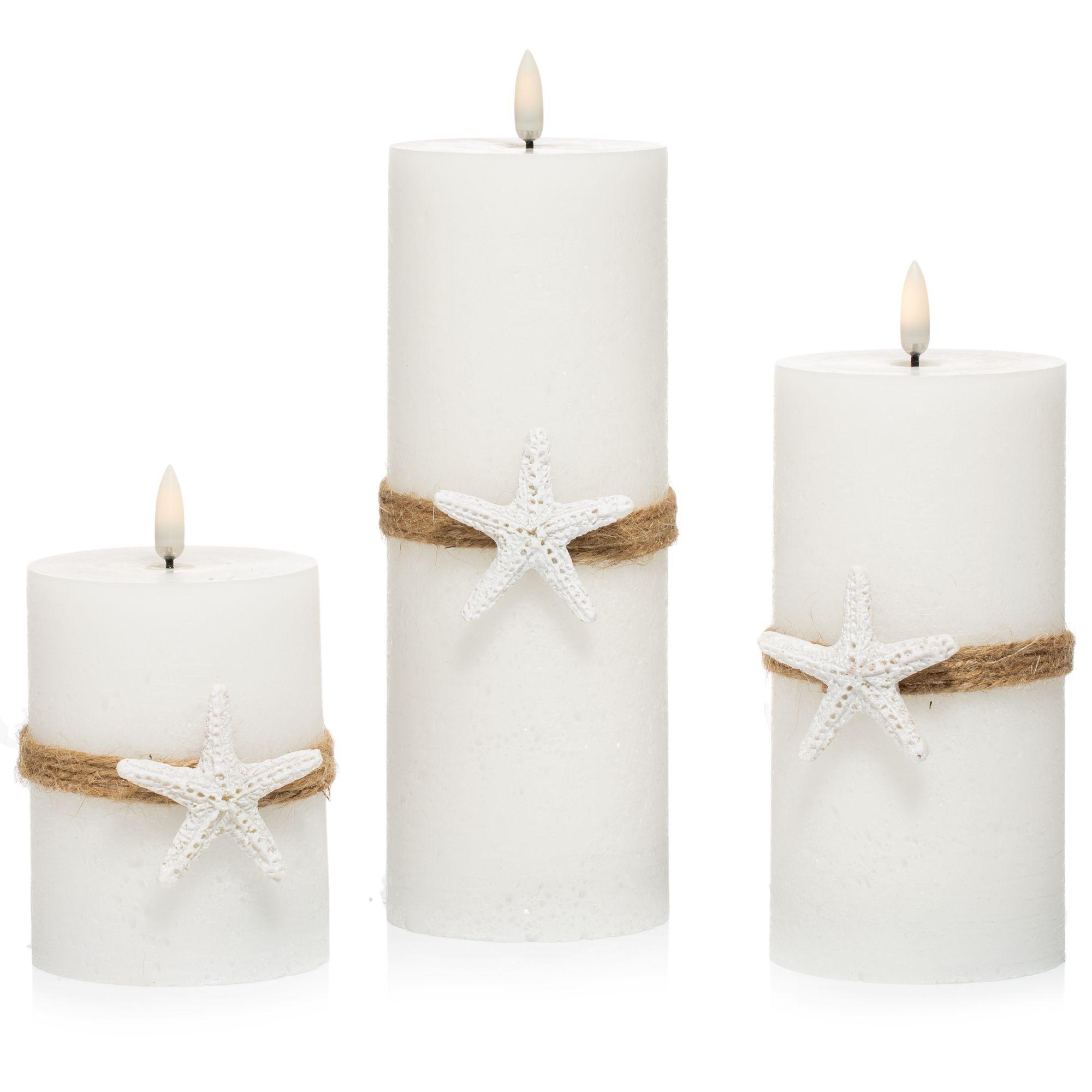 5eb57b141a ELAMBIA 3 flammenlose Kerzen Rustik-Optik Seestern-Design Flamme Luma,  Timer - Page 1 — QVC.de