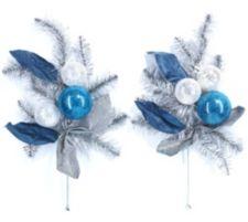 ABELLA  Flora kunstvolle Blumen Deko-Sticks mit Christbaumkugeln 2er-Set