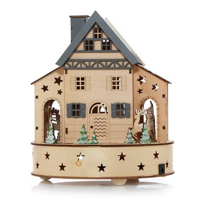 LUMIDA Xmas Holzdekoration Häuschen & Santa mit Schlitten Timer, ca. 22x22x26cm Preisvergleich