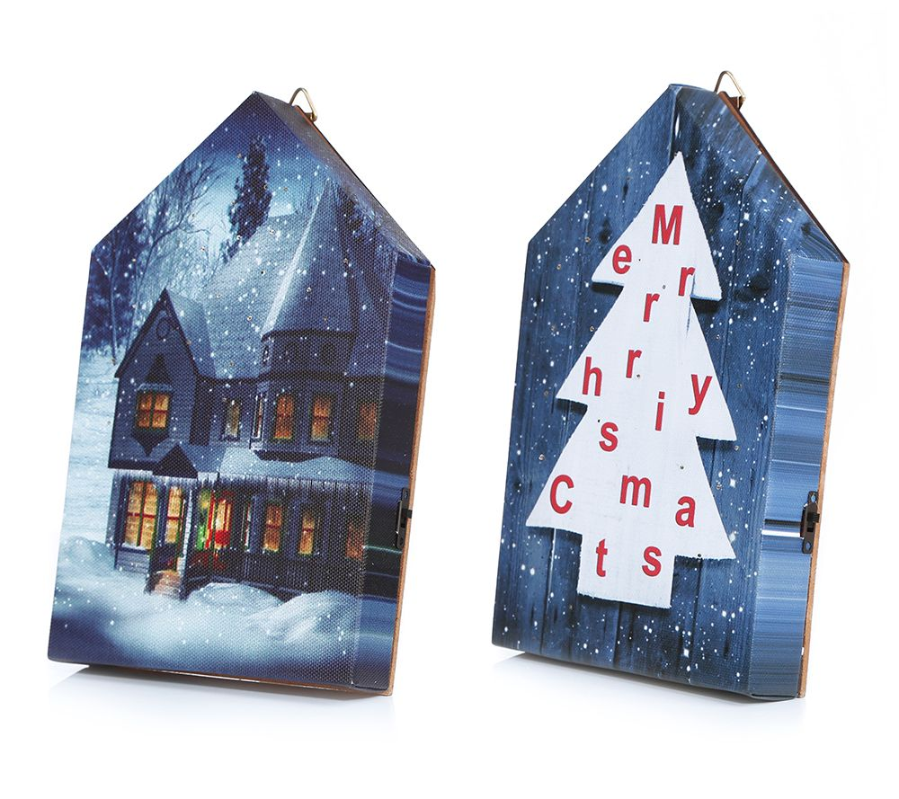 Weihnachtsbilder Mit Licht.Lumida Xmas Led Bilder Winterliche Designs Timer 2tlg Qvc De