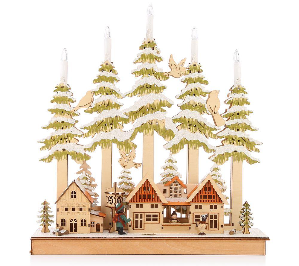 LUMIDA Xmas Weihnachtsbogen Winterszene inkl. Acrylkerzen Timer, ca ...