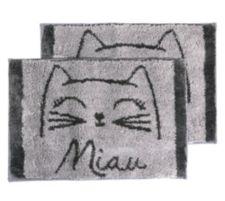 CASA FONDO  Mikrofaser 2 Fußmatten Katzenkopf Miau ca. 45x65cm