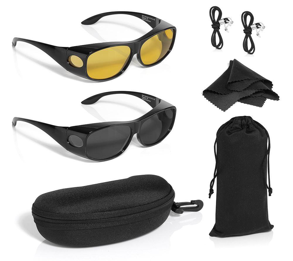 fa4a64ecfd63ac Sonnenüberbrille & Nachtsichtbrille für Seh- & Lesebrillen 100% UV-Schutz  inkl. Zubehör - Page 1 — QVC.de