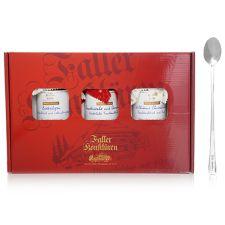 FALLER KONFITÜREN  im Geschenkekarton mit Faller-Löffel 3 Gläser 705g