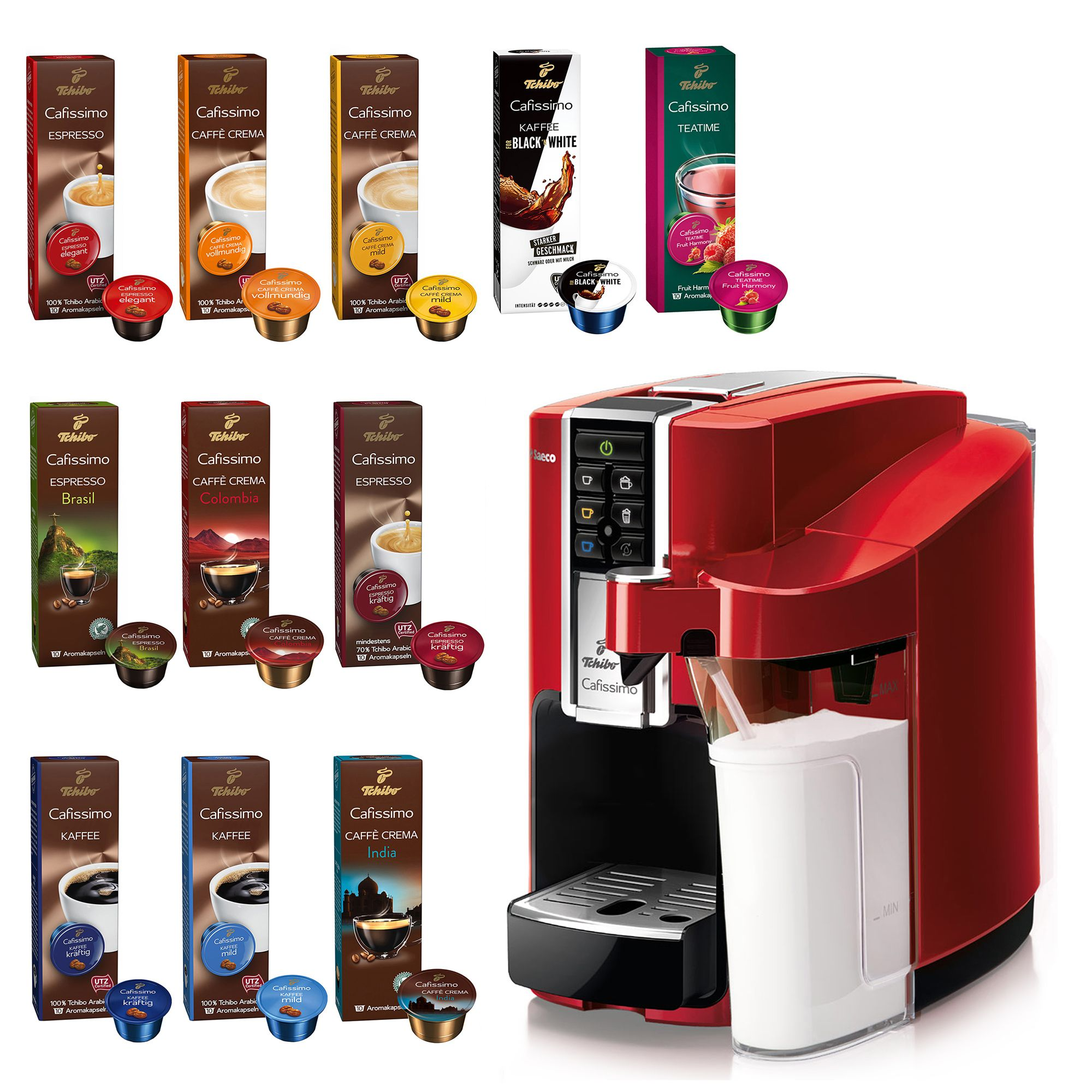 3cb04bd234a853 TCHIBO Cafissimo Latte Kapselmaschine Kaffee & Tee Inkl. 110 Kapseln —  QVC.de