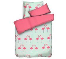 APRICASA  MF glatt gewebt Wendebettwäsche Flamingos Einzelbett, 3tlg.