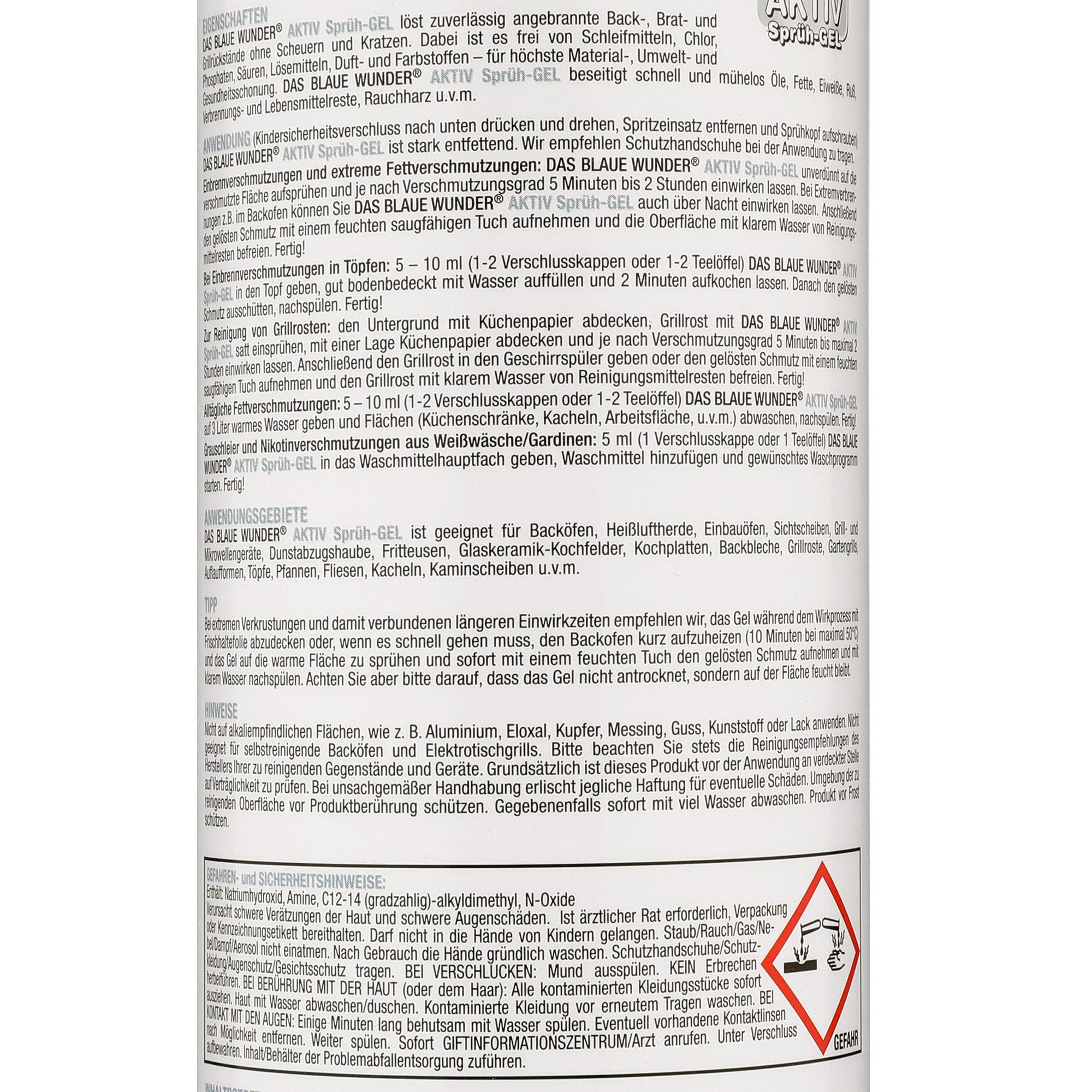 DAS BLAUE WUNDER® Backofen- & Grillreiniger Aktiv Sprüh-Gel 1l ...