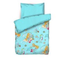 APRICASA  MF glatt gewebt Kinderbettwäsche Meerjungfrauen Einzelbett, 2tlg.