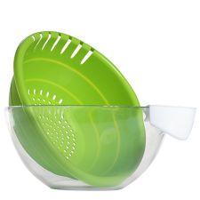 BONDIDOU  Salatschüssel aus Glas inkl. Siebeinsatz und Ansteckbehälter