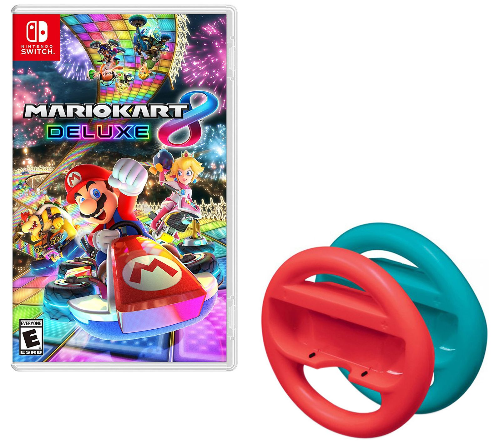 Mario Kart 8 Deluxe With Red And Blue Steeringwheels Switch