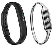 Fitbit Flex 2 w/ Silvertone Stainless Steel Bangle or Necklace - E231519