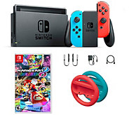 Nintendo Switch Neon with Mario Kart 8 & Red and Blue Wheels - E295721