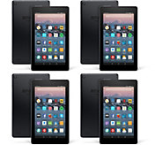 All-New 2017 Amazon Fire 7 Set of 4 Tablet w/ Custom Cases & App Packages - E231022